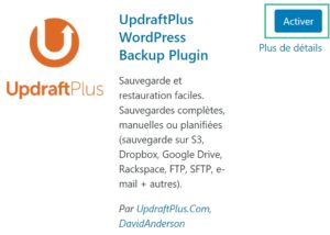 Activer le plugin UpdraftPlus pour WordPress
