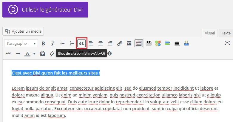 Utiliser le format de publication Citation dans WordPress