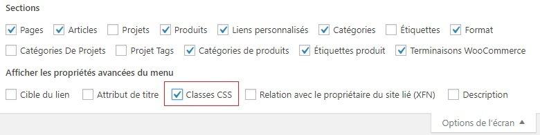 Ajouter une classe CSS au menu WordPress