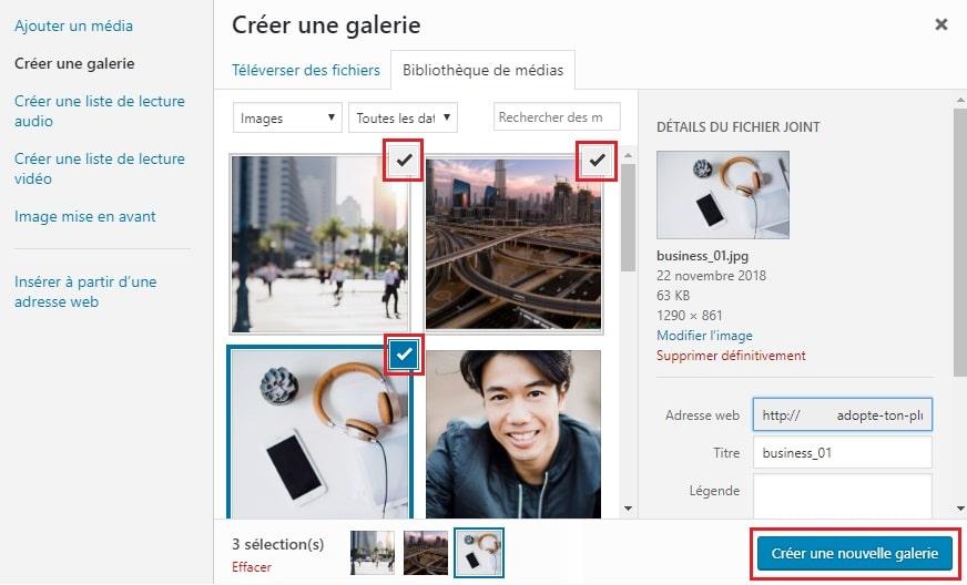 Créer une galerie sur WordPress