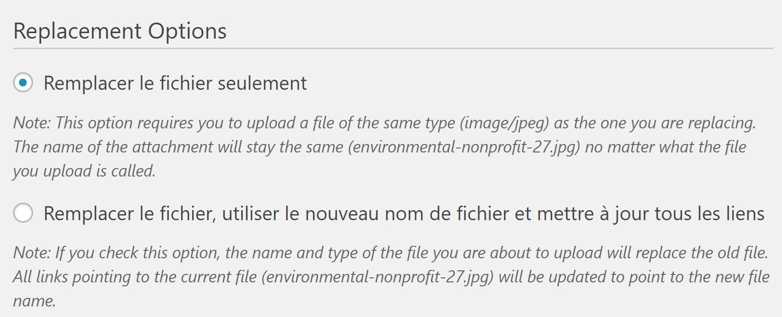 Remplacer un fichier avec le plugin Enable Media Replace pour WordPress