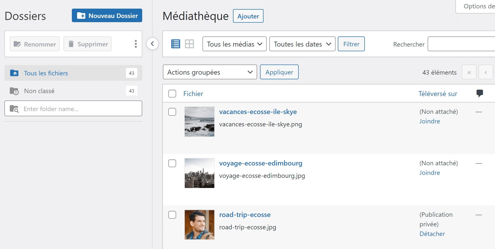 Classer ses images WordPress avec le plugin FileBird
