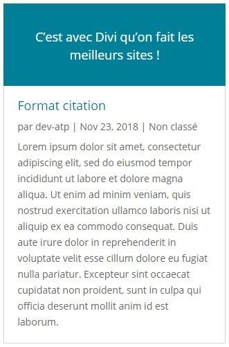 Aperçu du format de publication Citation avec Divi pour WordPress