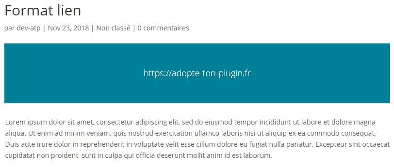 Aperçu du format de publication Lien dans WordPress