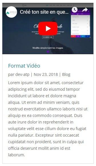 Aperçu du format de publication Vidéo avec Divi pour WordPress