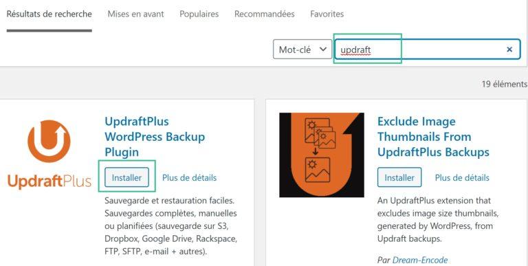 Installer le plugin UpdraftPlus pour WordPress