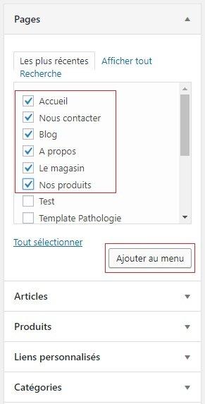 Ajout de liens au menu dans WordPress