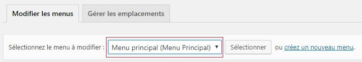 Créer un menu principal dans WordPress