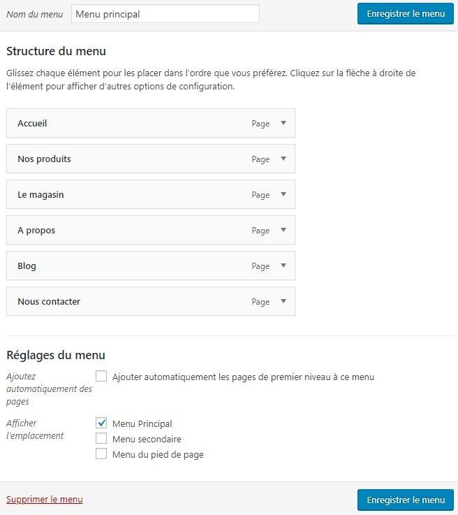 Ajouter des éléments de menu dans WordPress