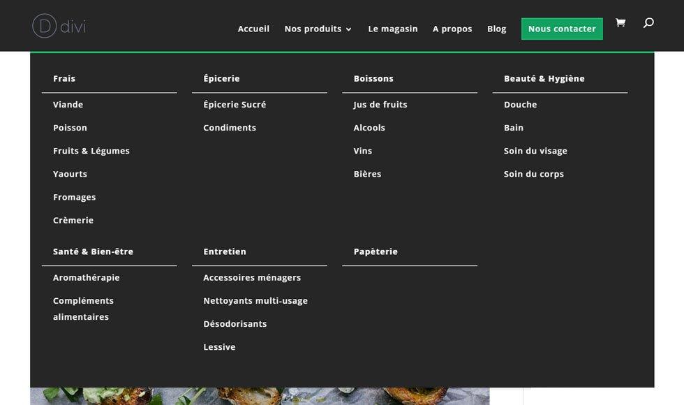 Mega menu avec Divi