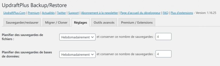 Planifier des sauvegardes avec UpdraftPlus pour WordPress