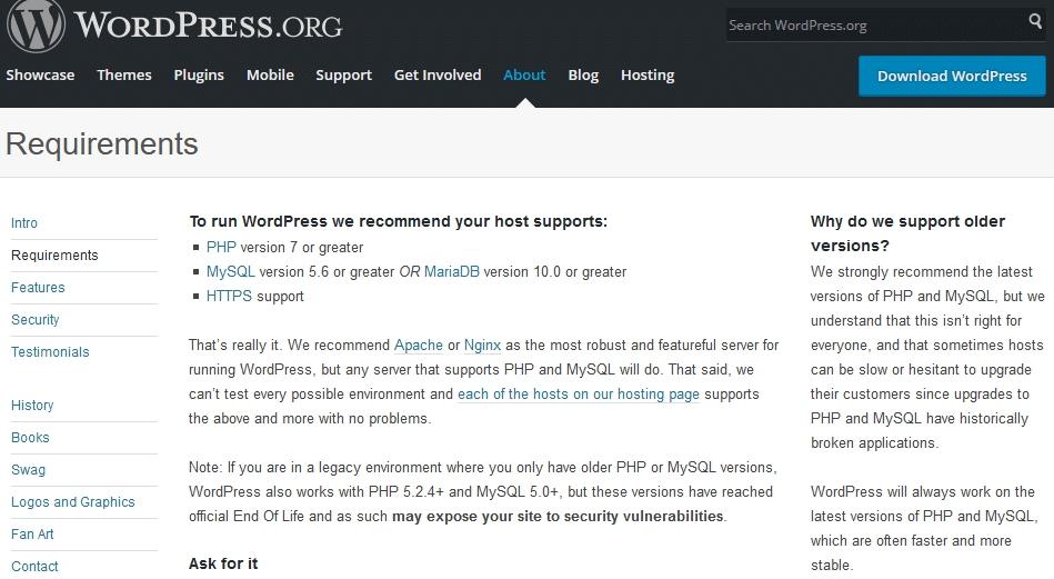 Configurations minimales pour WordPress