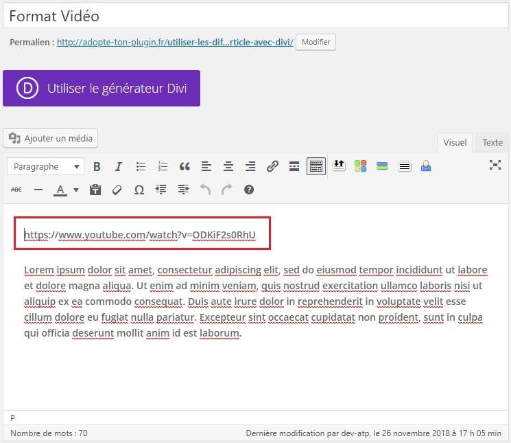 Utiliser le format vidéo dans une publication WordPress