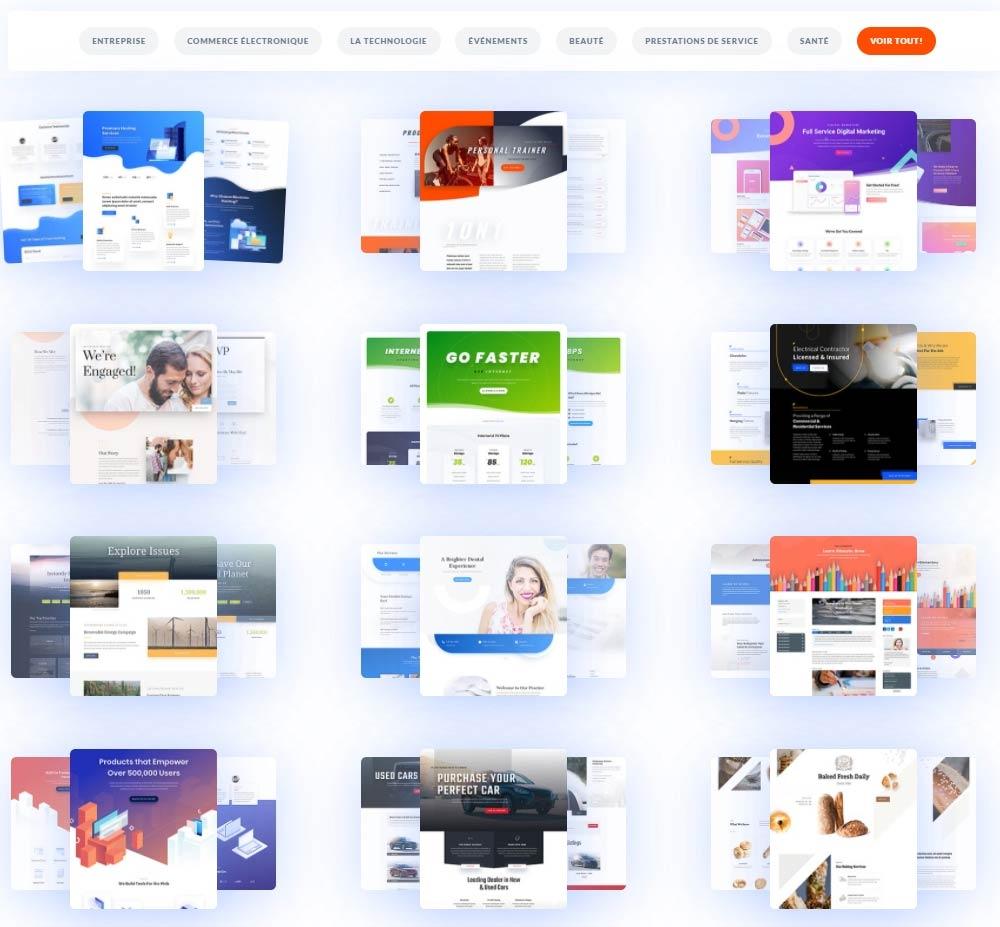 Télécharger en 1 clic un des modèles de site internet fournit par Divi